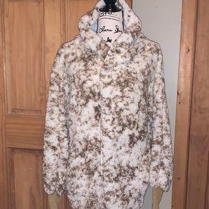 NWT M LLR Brown & Cream Print Teddy Bear Jacket